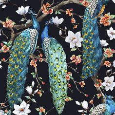"""Victorian Peacock Removable 5' x 20"""" Wallpaper"""