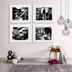 Chanel Makeup print Bathroom wall Decor Set of 4 by PHOTOFORWALL