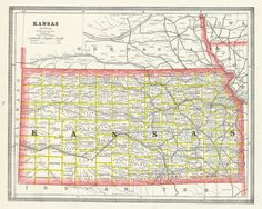 Map Antique. Kansas.  Geo. F. Cram. 1883. Chicago. State map with topography. Page 69. Narrow ornamental border.