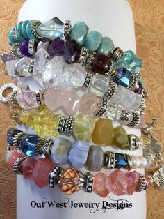 Chunky western style gemstone bracelets from Out West Jewelry Designs! Wear one or several