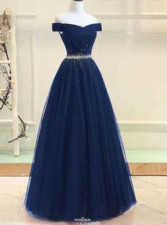 Prom dresses for teens - Blue party dress off shoulder evening dress tulle beading prom dress – Prom dresses for teens Navy Prom Dresses, Dresses Elegant, Formal Dresses For Teens, Modest Dresses, Ball Dresses, Pretty Dresses, Sexy Dresses, Ball Gowns, Evening Dresses