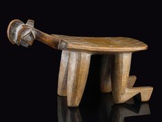 Africa | Stool from the Bobo people of Burkina Faso | Light brown wood, with a shiny patina