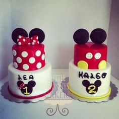 Mickey and Minnie cakes for a brother and a sister!