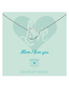 Heart to get Mom I Love You ketting van zilver