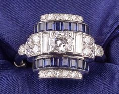 Art Deco Platinum, Sapphire, and Diamond Ring | Skinner Auctioneers