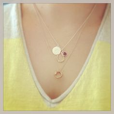 Lucky Charm Necklace with Signature Initial and Birthstone Charm layered with Odette Infinity Necklace