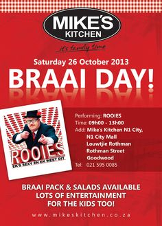 """Mike's Kitchen City Join us for Braai Day featuring """"Rooies"""" Join, Entertaining, City, Kitchen, Image, Cooking, Kitchens, Cities, Cuisine"""