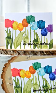 Four cards, four different ways to use Altenew Tulip stamp set. Rainbow of tulips, monochromatic tulips layout, colorful tulips of kraft. Altenew Cards, Stampin Up Cards, Rainbow Card, Rainbow Colors, Colorful Birthday, Handmade Card Making, Color Card, Flower Cards, Homemade Cards
