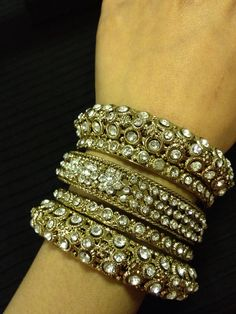 Indian jewelry - gold flower rhinestone bangle set | HDaccessories