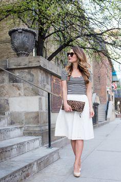White Midi Skirt + Stripes + Leopard Clutch