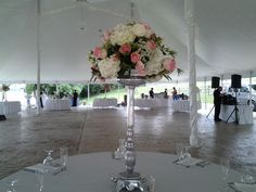 Pink and white elevated on silver stand