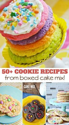 Over 50 Cake Mix Cookie Recipes! This huge list of over 50 cake mix cookie recipes is packed w Cake Box Cookies, Cake Mix Cookie Recipes, Cake Mixes, Köstliche Desserts, Healthy Dessert Recipes, Bar Recipes, Sweet Desserts, Baking Recipes, Chocolate Chip Cookies