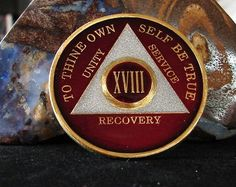 Burgundy Pearl Tri Plate Alcoholics Anonymous 18 Year AA Medallion Coin Chip | eBay