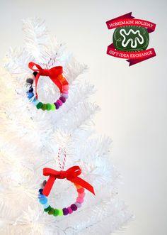 Homemade Holiday Gift Idea!: Make Pom Pom Wreath Ornaments — 2014 HOMEMADE HOLIDAY GIFT IDEA EXCHANGE: PROJECT #4