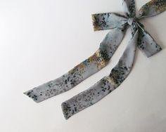 Grey Floral Skinny Scarf Gray Chiffon Neck by NaryasSewingCorner