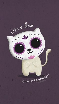 Day of the dead Animal Wallpaper, Iphone Wallpaper, Phone Backgrounds, Day Of The Dead Artwork, Cat Background, Sugar Skull Art, Sugar Skulls, Kawaii, Halloween Wallpaper