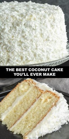 The World's Most Delicious The Best Coconut Cake You'll Ever Make Prep Time 1 hr Cook Time Vegan Coconut Cake, Coconut Cakes, Best Ever Coconut Cake Recipe, Coconut Cake Frosting, Coconut Cake Easy, Mini Cakes, Cupcake Cakes, Cupcakes, Best Vegan Recipes