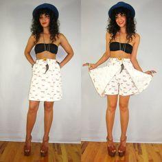 Vintage 60s/70s HIGH WAIST Cream FLORAL Print WESTERN Mini SKORTS Skirt Shorts BOHO