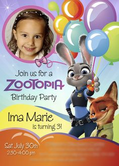 Zootopia Birthday Invitation | A nice sample. Customize it with your daughter…
