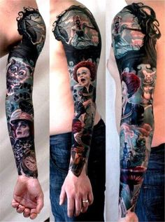 Alice in Wonderland (the one with Johnny Depp) full arm #tattoo