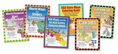 Canada and the Canadian Provinces and Territories Printable PDF Maps Coloring Book Map, America Map, School Lessons, Middle East Map, Coloring Books, Books, Geography Map