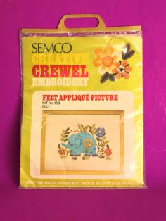 Semco Creative Crewel Embroidery Elly the Elephant - Vintage Retro Felt Applique Picture - New in Packet! - Made in Australia by FunkyKoala on Etsy