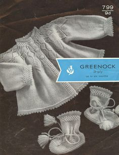 Greenock 799 baby matinee coat set vintage knitting by Ellisadine