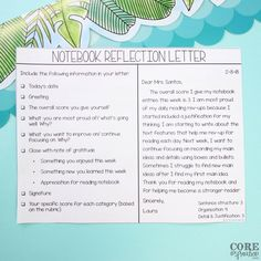 Notebook reflection letter prompt to support student self-reflection. Teacher asks students to score themselves and provide justification for their score. Readers Notebook, Readers Workshop, Writing Workshop, Reading Notebooks, Math Notebooks, Middle School Reading, 4th Grade Reading, Teaching Writing, Teaching Tips