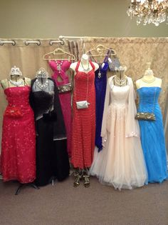 Some of the beautiful dresses available on consignment at Bonne' Bella. Lots of jewelry and accessories too!