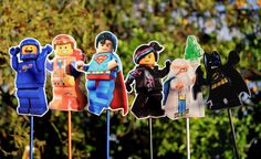 Lego Movie Character Wood Centerpieces by MarieRoseDecorations Lego Movie Cake, Lego Movie Birthday, Lego Movie Party, Lego Batman Party, Superman Birthday Party, 3rd Birthday, Birthday Ideas, Superhero, Lego Movie Characters