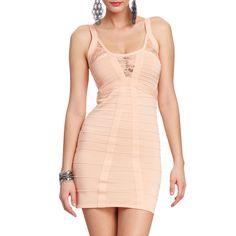 Sleeveless Lace Cut-out Bandage Dress ($45) ❤ liked on Polyvore