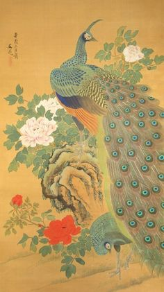 Japanese Scroll Painting of Peacocks Attributed to Tani Bunchō (item detailed views) Peacock Drawing, Peacock Painting, Peacock Art, Peacock Decor, Chinese Drawings, Chinese Art, Korean Art, Asian Art, Japanese Prints