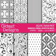 Download Digital Paper Pack Damask & Swirls Black on White Online | Gidget Designs