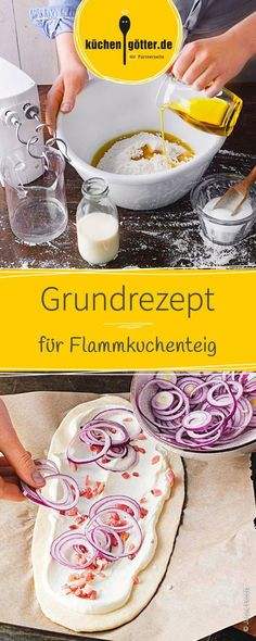 Grundrezept Flammkuchenteig Classic and yet so delicious! Whether with onions, bacon, potatoes or fish, with the right basic dough every Tarte Flammkuchen succeeds. The recipe for the flame cake dough succeeds quickly and easily. Pizza Recipes, Vegetarian Recipes, Fish Recipes, Chicken Recipes, Le Diner, Food Items, Bacon, Food And Drink, Stuffed Peppers