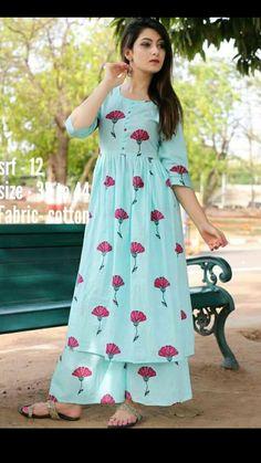 Simple Frock Design, Simple Kurti Designs, Kurta Designs Women, Frock Fashion, Fashion Dresses, Indian Designer Outfits, Designer Dresses, Indian Dresses For Kids, Simple Frocks