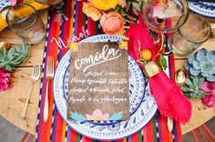A cheerful table idea for Cinco de Mayo or a fun colorful dinner party.
