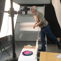 Paul the @searchpress photographer experimenting with my wool for shot detail and colour testing! Its all very exciting.  #behindthescenes #searchpress #searchpressbooks #book #feltbook #feltprojects #feltcraft #feltmaking #feltmakingbooks