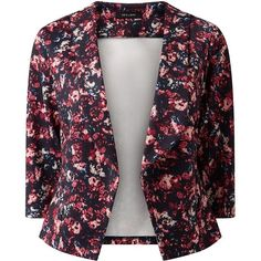 Black Scuba Floral Print Blazer (655 THB) ❤ liked on Polyvore featuring outerwear, jackets, blazers, blazer, floral print jacket, flower print jacket, three quarter sleeve blazer, floral blazer jacket and floral cami