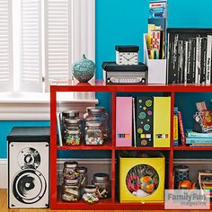 Hide cords, DVDs, game cases, and other digital debris in roomy bins that blend with your decor.