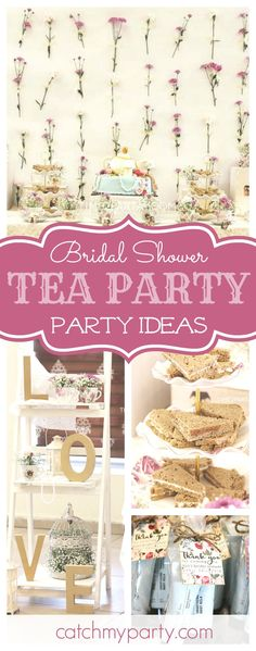 Take a look at this gorgeous Tea Party themed Bridal Shower! The floral backdrop is fantastic!! See more party ideas and share yours at CatchMyParty.com