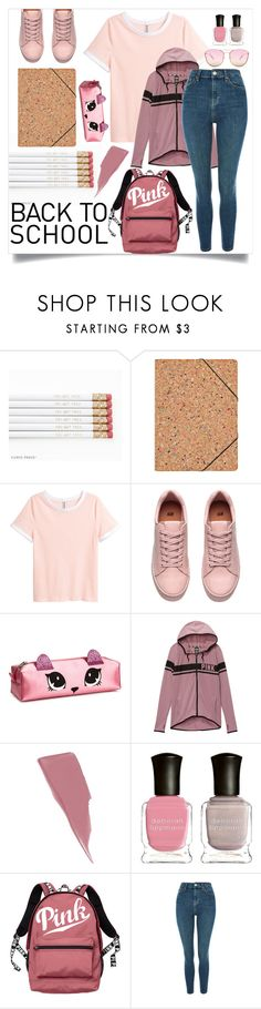 """Pink & Girly"" by bitty-junkkitty ❤ liked on Polyvore featuring Nomess, H&M, Victoria's Secret, Maybelline, Deborah Lippmann, Topshop and Quay"