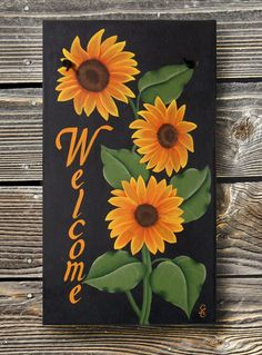 Size: 14 x 8 I just love sunflowers. They are so amazing! This beautiful sunflower sign is hand painted and is sure to please any sunflower