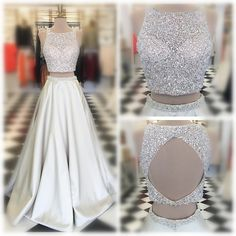 Sparkly Prom Dress, White Satin Prom Dresses Two Piece Long A-line Sleeveless Beasded Evening Dresses Open Back Formal Gowns Sexy Party Graduation Pageant Dresses for Teens Girls Ball Gown Prom Pageant Dresses For Teens, Sparkly Prom Dresses, Open Back Prom Dresses, Elegant Prom Dresses, Dress Long, Dress Prom, Prom Gowns, Long Dresses, Beaded Dresses