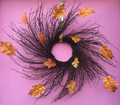 Swirling Orange Leaf Black Halloween Wreath by AHolidayShoppe