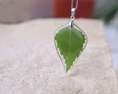 Birch Leaf Necklace - Green real leaf necklace - Leaf in crystal resin pendant Betula pendula