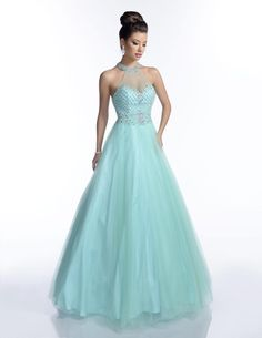A beautiful beaded tulle prom dress by Karishma