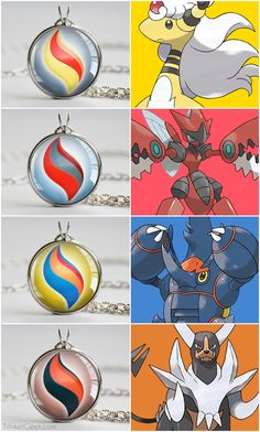 Pokemon X and Y Mega Stone necklace pendants. Ampharos, Pinsir, Heracross and Houndoom. #nintendo #Johto #treatsforgeeks