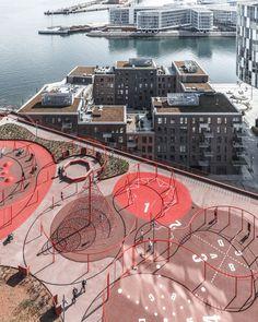 Parking House + Konditaget Lüders by JAJA Architects | Parks Playground Design, Outdoor Playground, Urban Landscape, Landscape Design, Landscape Architecture Jobs, Architecture Portfolio, Architecture Diagrams, Lego Architecture, Landscape Architecture