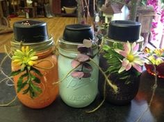 Shabby Chic Sun Jars~ you can hang from a tree or dress up your outdoor space