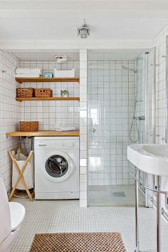 Remove the bath and replace with a shower making space for a washing machine in the bathroom
